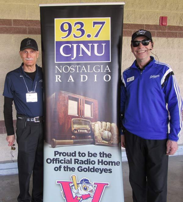 Tom Dercola / CJNU President of the Board of Directors & Dan Chase / Director of Sales & Marketing Winnipeg Goldeyes Baseball Club